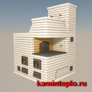 Проект кирпичной русской печи теплушки с лежанкой, плитой и подтопком